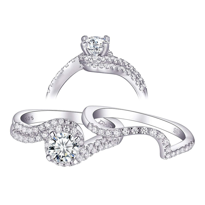 CERTIFIED 1.2 cttw Wedding Rings Engagement Ring Set 925 Sterling Silver Round Cz