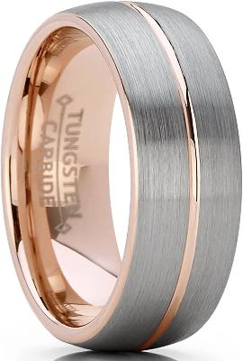 CERTIFIED 8mm Men's Women's Rose Tone Tungsten Carbide Wedding Band Engagement Ring, Dome Grooved