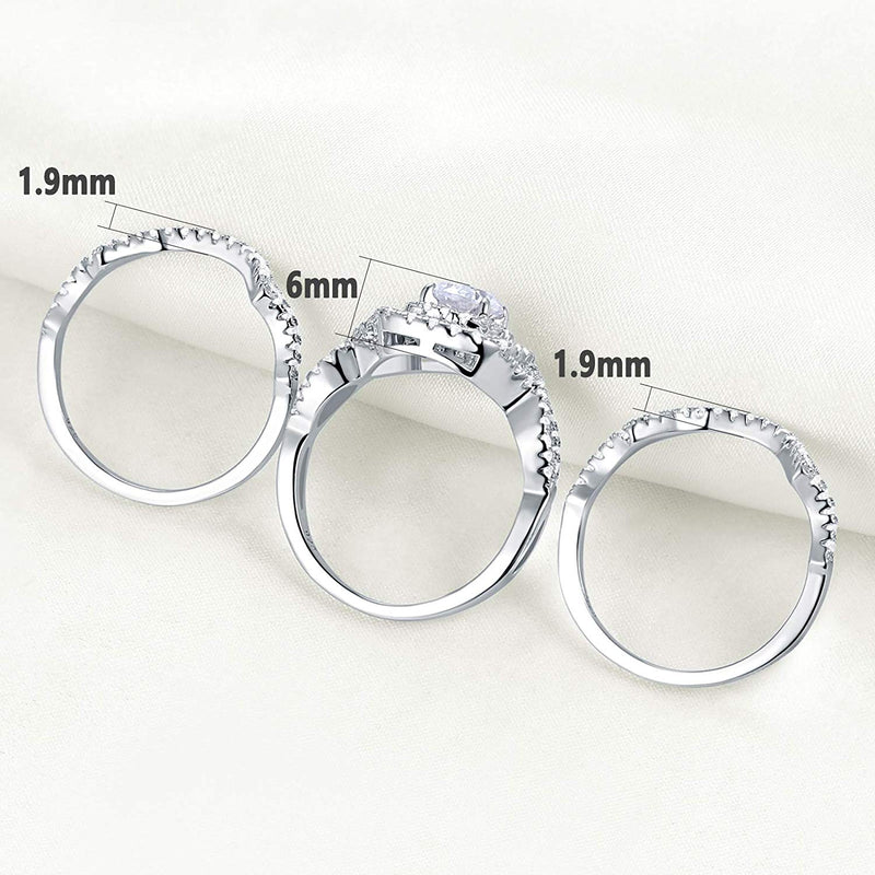 CERTIFIED 2.3Ct Engagement Rings Wedding Sets 925 Sterling Silver 3pcs Cz