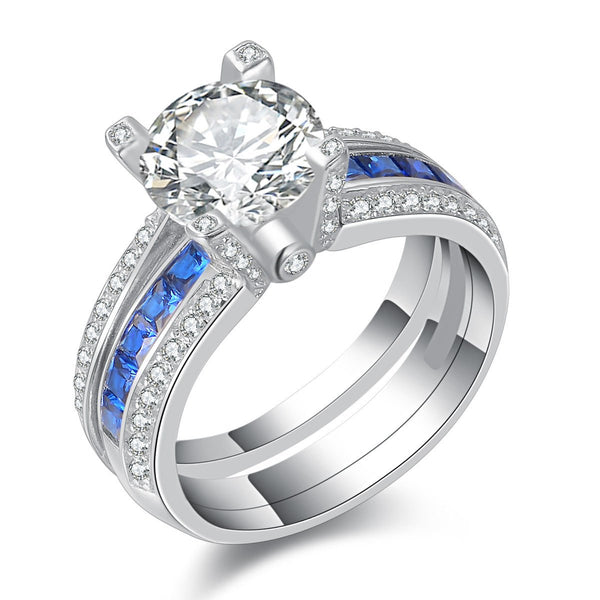 CERTIFIED 1.80 cttw Wedding Rings  Engagement Ring Sets Blue Sapphire Sterling Silver