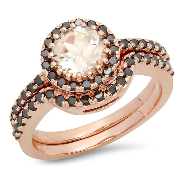CERTIFIED   14K Round Morganite & Black Diamond Ladies Bridal Halo Style Engagement Ring Set, Rose Gold