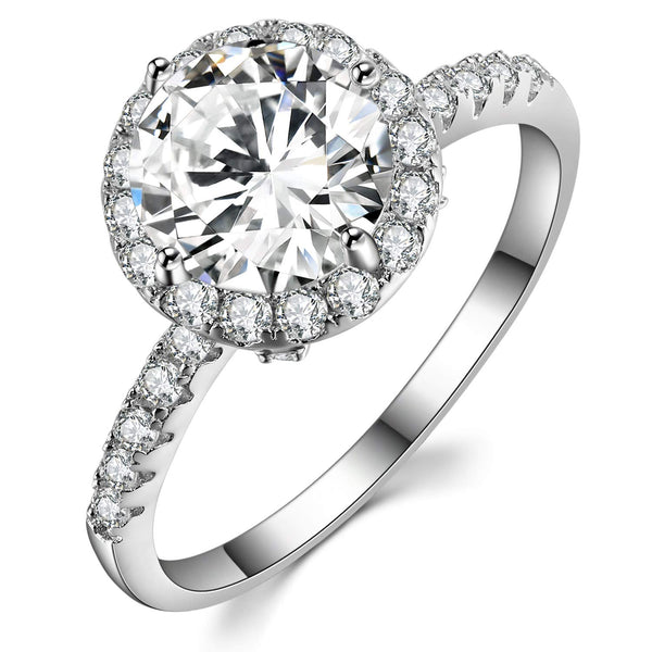 CERTIFIED 2 Ct Sterling Silver Round-Cut  Solitaire Cubic Zirconia Engagement Rings for Women