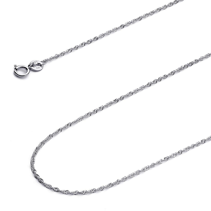CERTIFIED Wellingsale 14k White Gold SOLID 1.2mm Polished Singapore Chain Necklace with Spring Ring Clasp