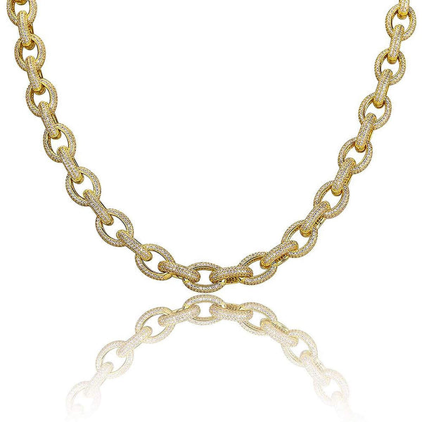 CERTIFIED Shop-iGold 18K Gold Lab Diamond Rolo Chain Link Micro Pave Iced Out Mens Choker Necklace - Mens Jewelry, Men's Necklace, Iced Out Chain, Iced Out Jewelry
