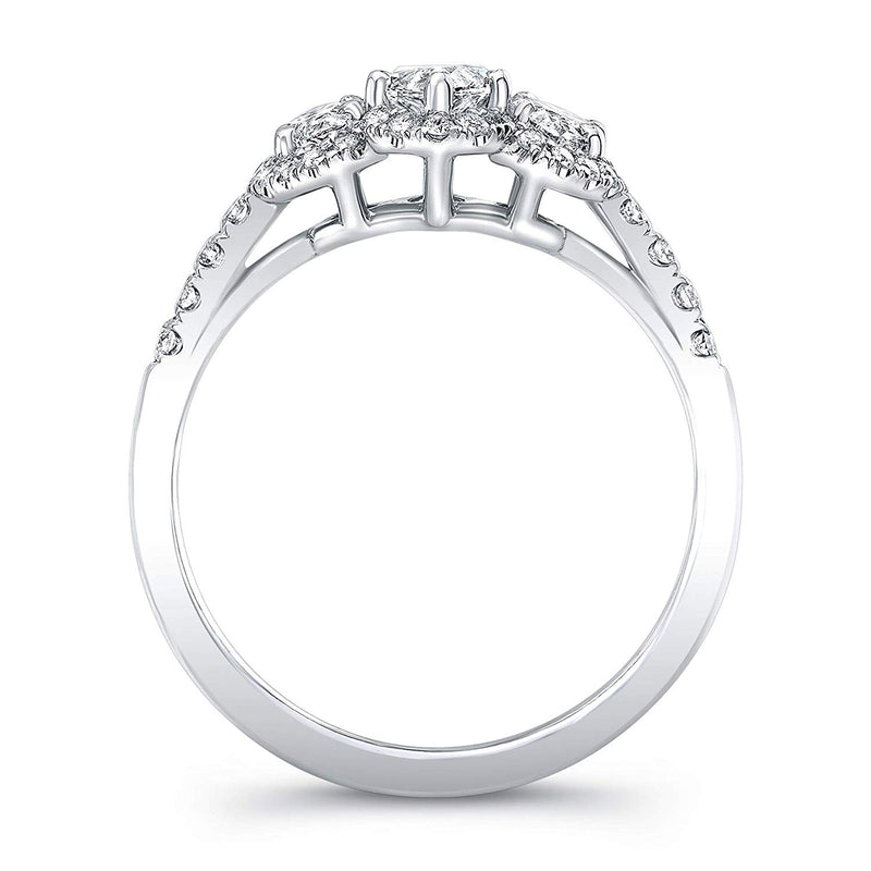 3 Stone Marquise Cut Diamond Set in 18K White Gold Single Shank Pave Ring (Certified AGS .63 Center Stone F-G, VS1-VS2, 2 Side Stones .62 TW, 38 Full Cuts .31 TW)