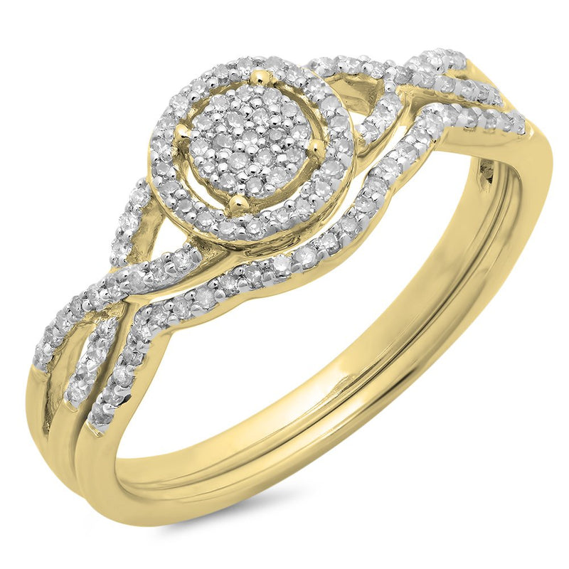 CERTIFIED 0.25 ctw 10K Gold Round Diamond Twisted Split Shank Engagement Ring Set
