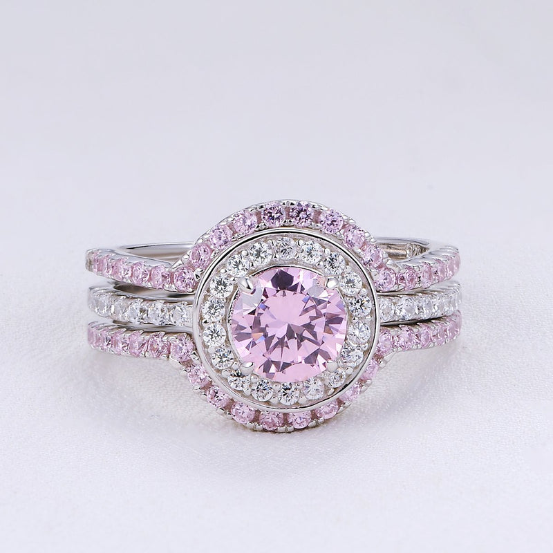 CERTIFIED 3.40 cttw Engagement Wedding Ring Set 925 Sterling Silver 3pcs Created Pink Sapphire