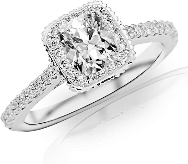 GIA Certified 0.85 Carat Cushion Cut/Shape 14K White Gold Vintage Cushion Halo with Milgrain Diamond Engagement Ring 4 Prong with a 0.52 Carat, I Color, VS2 Clarity Center Stone