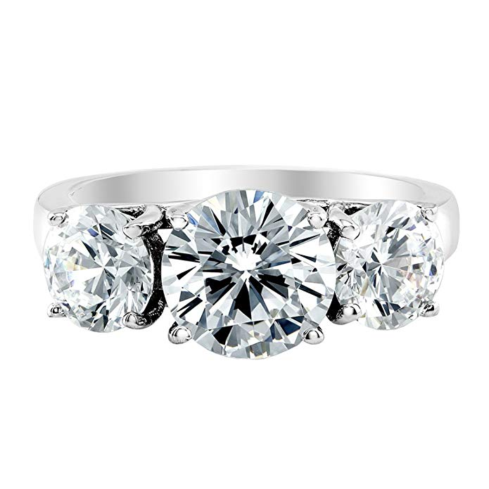 GIA | 3 Three Stone Certified Princess Diamond Engagement 14K White Gold (Colorless D-E, VS1-VS2)