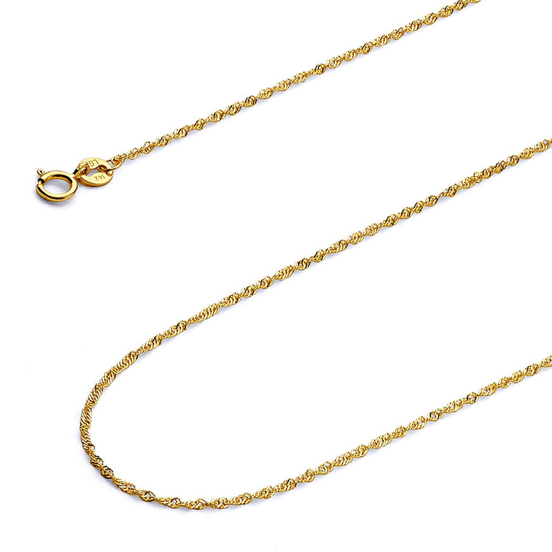 CERTIFIED Wellingsale 14k Yellow Gold SOLID 1.2mm Polished Singapore Chain Necklace with Spring Ring Clasp