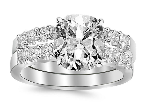 3 Ctw 14K White Gold Bridal Set Classic Side Stone GIA Certified Cushion Cut w/2.01 Carat Cushion F VS2