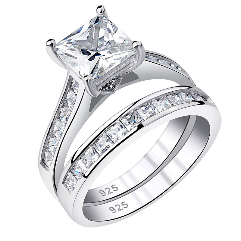CERTIFIED 1.8 cttw Wedding Rings Engagement Ring Sets Princess 925 Sterling Silver Cz