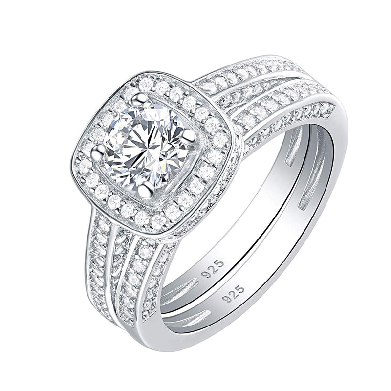 CERTIFIED 2.30 cttw Engagement Wedding Ring Set 925 Sterling Silver Round White AAA Cz