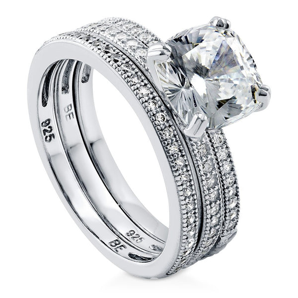 CERTIFIED  Rhodium Plated Sterling Silver Cushion Cut Cubic Zirconia CZ Solitaire Engagement Wedding Ring Set 3.37 CTW
