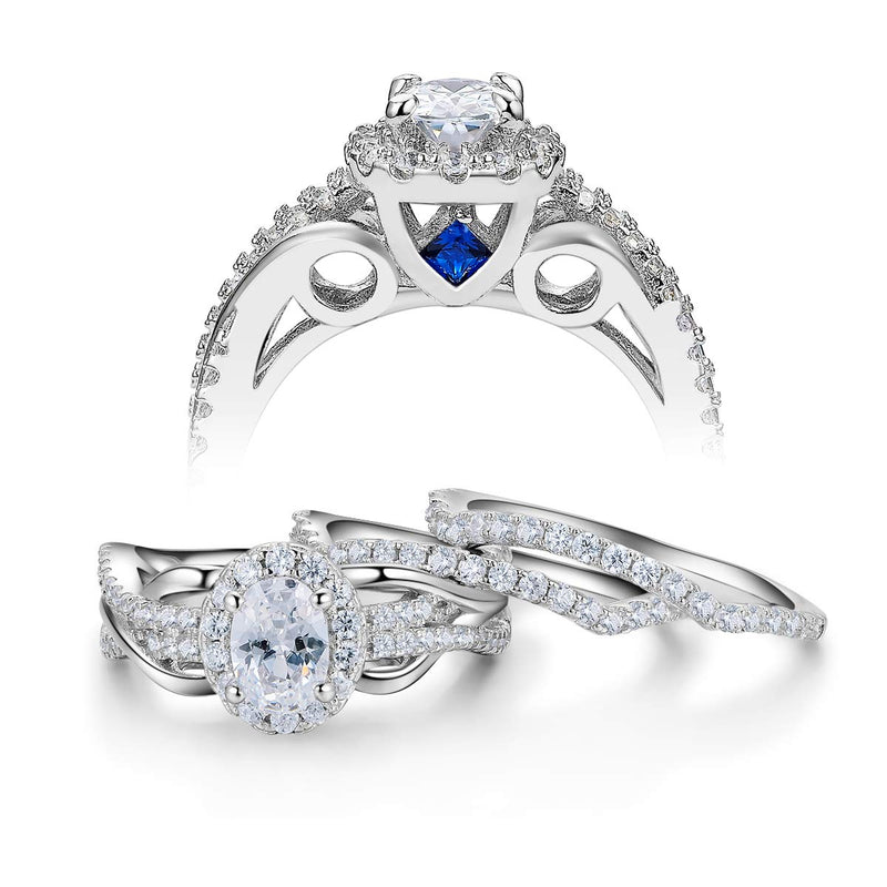 CERTIFIED Engagement Sets Wedding Rings White Cz Cubic Zirconia 925 Sterling Silver