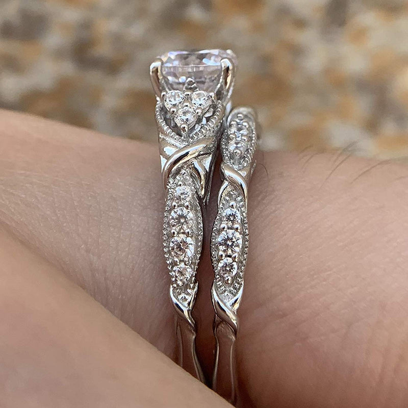 CERTIFIED 1.50cttw Wedding Rings Engagement Set Sterling Silver Cubic Zirconia