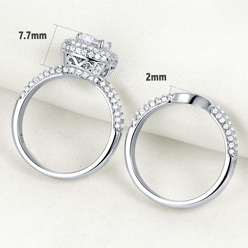 CERTIFIED 2.8 cttw Engagement Wedding Rings 925 Sterling Silver Band Bridal Set Cz