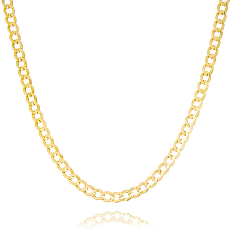 "CERTIFIED Solid Gold Light Curb Link Chain Necklace 14K Yellow Gold 3mm Wide (Lengths 18 to 24"")"