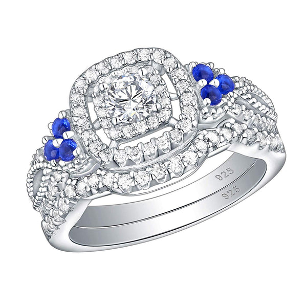 CERTIFIED 1.4 cttw  Wedding Rings Engagement Ring Set 925 Sterling Silver Blue Cz