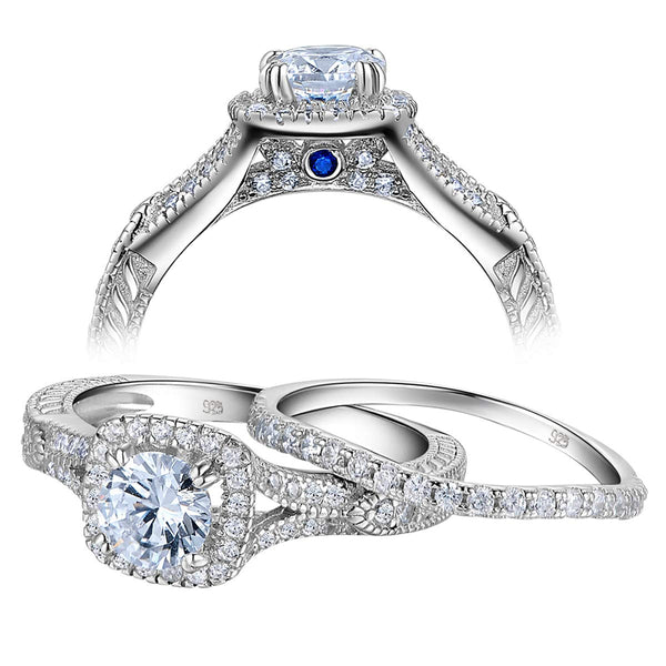 CERTIFIED 1.4ct Wedding Rings Engagement Ring Set 925 Sterling Silver White AAA Cz