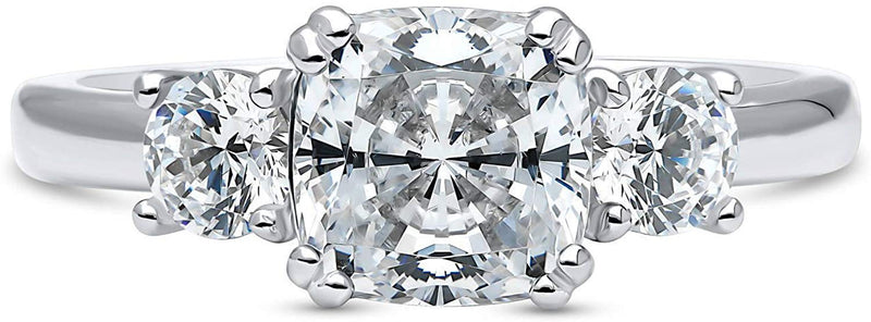CERTIFIED 2.5 CTW Sterling Silver Cushion Cubic Zirconia CZ 3-Stone Engagement Ring