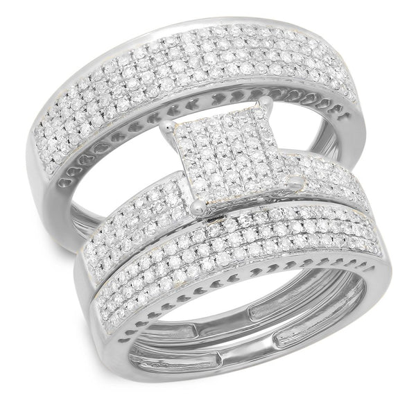 CERTIFIED   1.10 Carat (ctw) 10K Gold Round White Diamond Ladies & Mens Micropave Engagement Ring Trio Set Band 1 CT