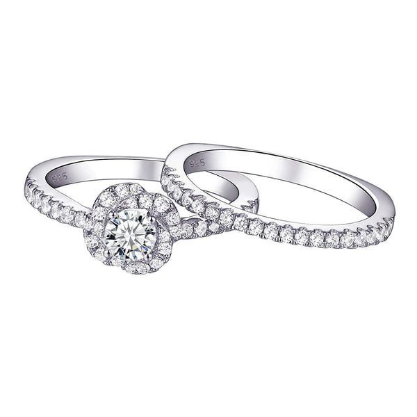 CERTIFIED  0.90 cttw Engagement Wedding Ring Set 925 Sterling Silver Round AAA Cz