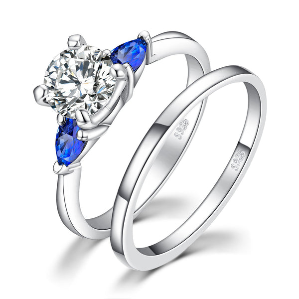 CERTIFIED 2.1ct Wedding Wedding Bands Solitaire Engagement Cubic Zirconia Created Blue Sapphire Anniversary Promise Bridal Sets 925 Sterling Silver 3 Stones