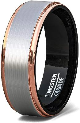 CERTIFIED 8mm Tri Color Tungsten Ring Rose Gold Black Matte Brushed Surface Step Edge