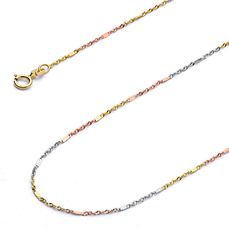 CERTIFIED Wellingsale 14k Tri 3 Color Gold SOLID 1mm Polished Singapore Chain Necklace