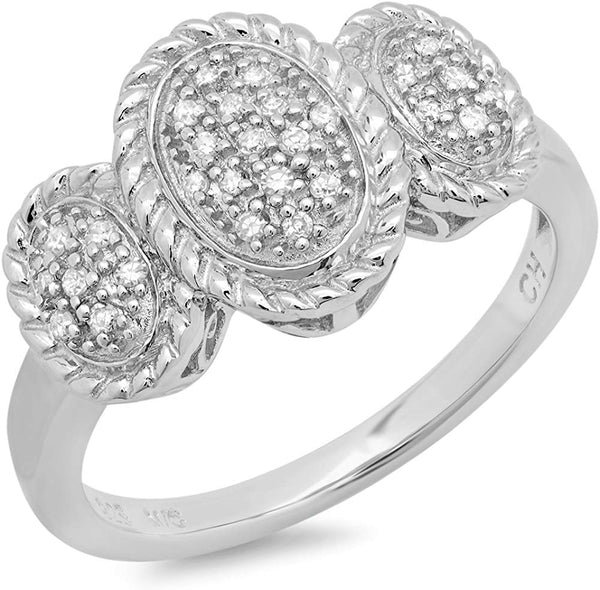 CERTIFIED 0.14 cttw Sterling Silver Diamond Three Dome Cocktail Ring