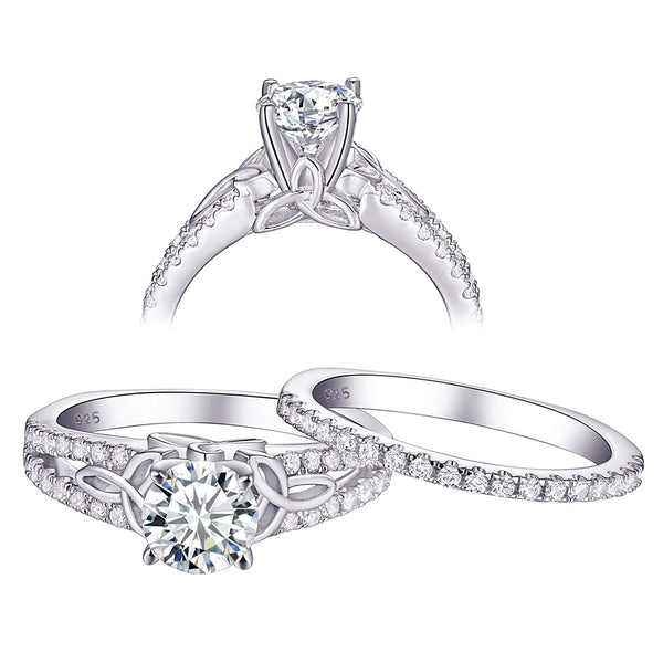 CERTIFIED 1.5 cttw Wedding Rings Engagement Set Cubic Zirconia Sterling Silver White