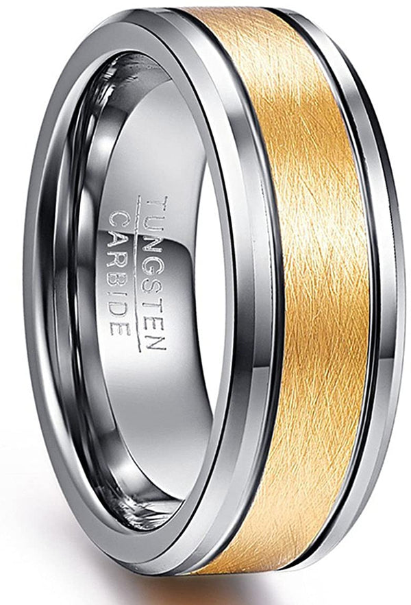 8mm 18k Gold Tungsten Rings Brushed Wedding Band Beveled Edge Comfort Fit