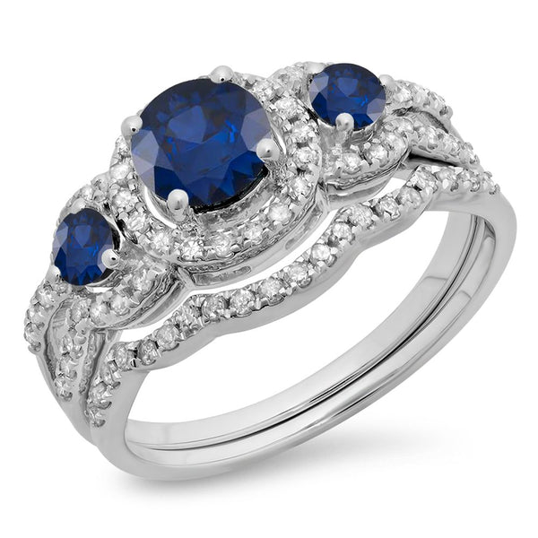 CERTIFIED 0.74 Carats 10K Gold Round Blue Sapphire & White Diamond Ladies 3 Stone Halo Bridal Engagement Ring Set