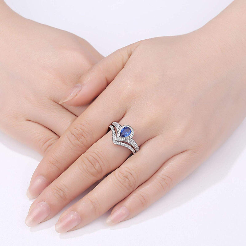 CERTIFIED Sterling Silver Wedding Sets Engagement Ring White Cz Pear Blue Tanzanite