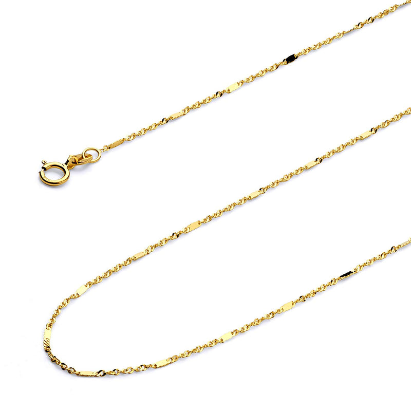 CERTIFIED Wellingsale 14k Yellow Gold SOLID 1mm Polished Singapore Chain Necklace