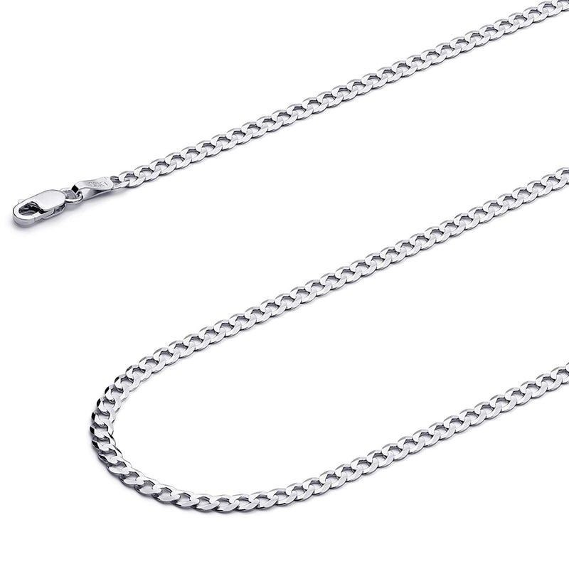 CERTIFIED Wellingsale 14k White Gold SOLID 3mm Polished Cuban Concaved Curb Chain Necklace