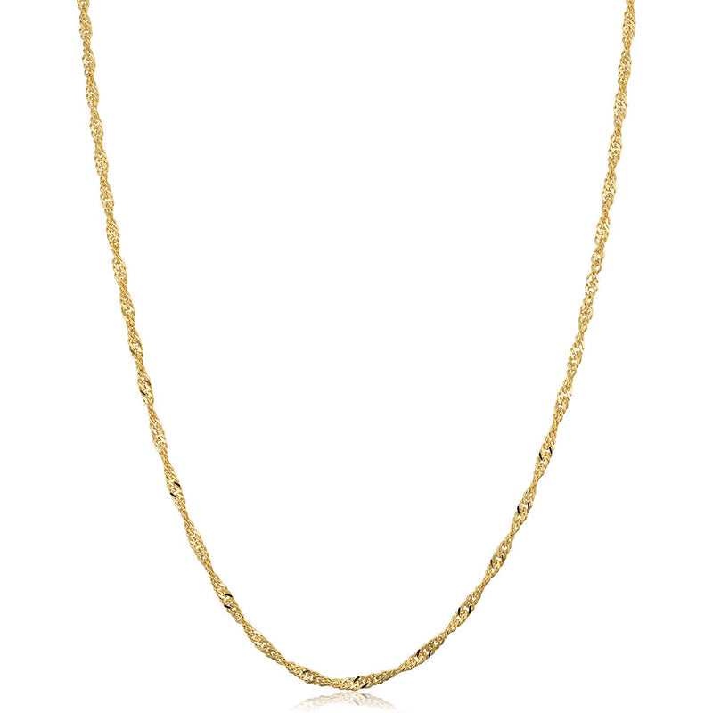 CERTIFIED Kooljewelry 14k Yellow Gold Singapore Chain Necklace (0.7 mm, 1 mm, 1.4 mm, 1.7 mm)