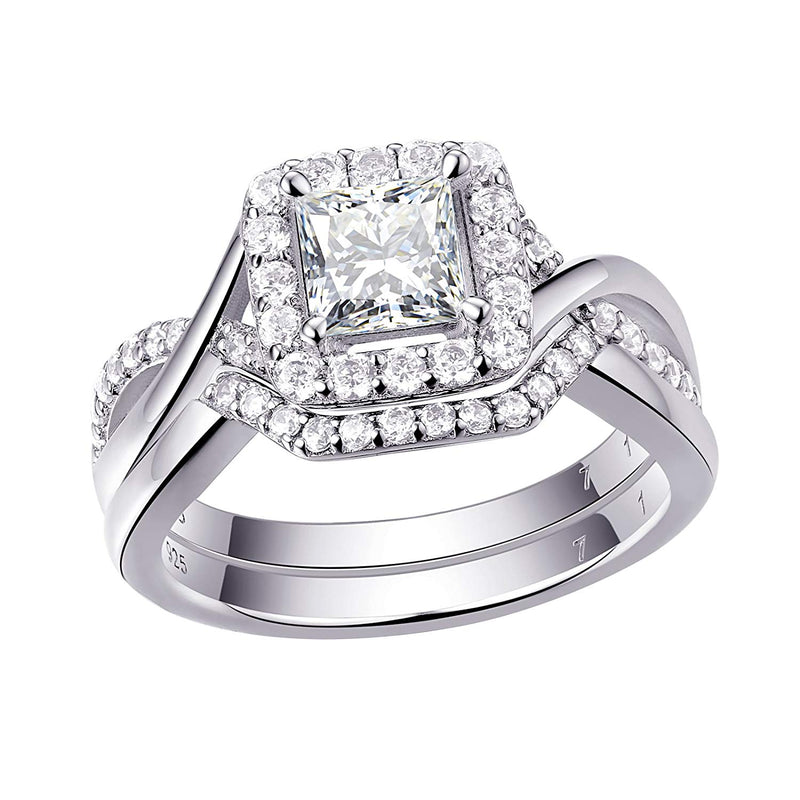 CERTIFIED Engagement Rings Wedding Ring Set Promise 925 Sterling Silver Princess Cz