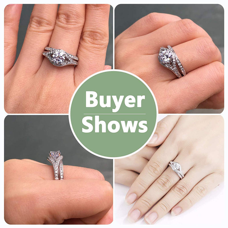 CERTIFIED 1.60 cttw Wedding Ring Sets Engagement Rings 925 Sterling Silver AAA Cz