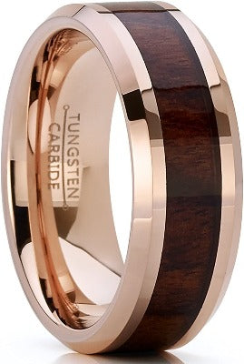 CERTIFIED 8mm Rose Tone Tungsten Carbide Wedding Band Engagement Ring, Real Wood Inlay