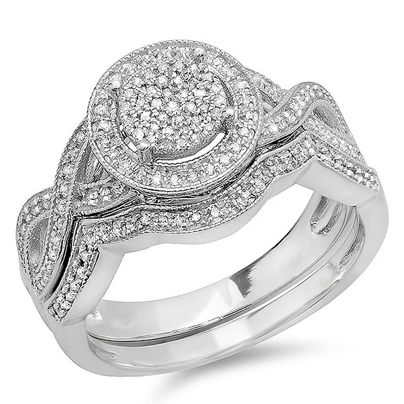 CERTIFIED   0.50 Carat (ctw) Round White Diamond Womens Micro Pave Engagement Ring Set 1/2 CT, Sterling Silver