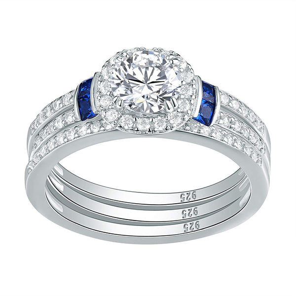 CERTIFIED 3pcs Blue Sapphire AAA Cz 925 Sterling Silver Engagement Wedding Ring Set