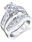 CERTIFIED Sterling Silver Bridal Set Engagement Wedding Ring Bands with Round and Princess Cut Cubic Zirconia