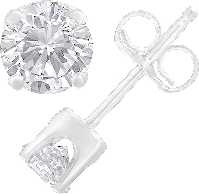 14K White Gold Round-Cut Diamond Solitaire Certified Stud Earrings (1.00 cttw,H-I color, SI2-I1 clarity)