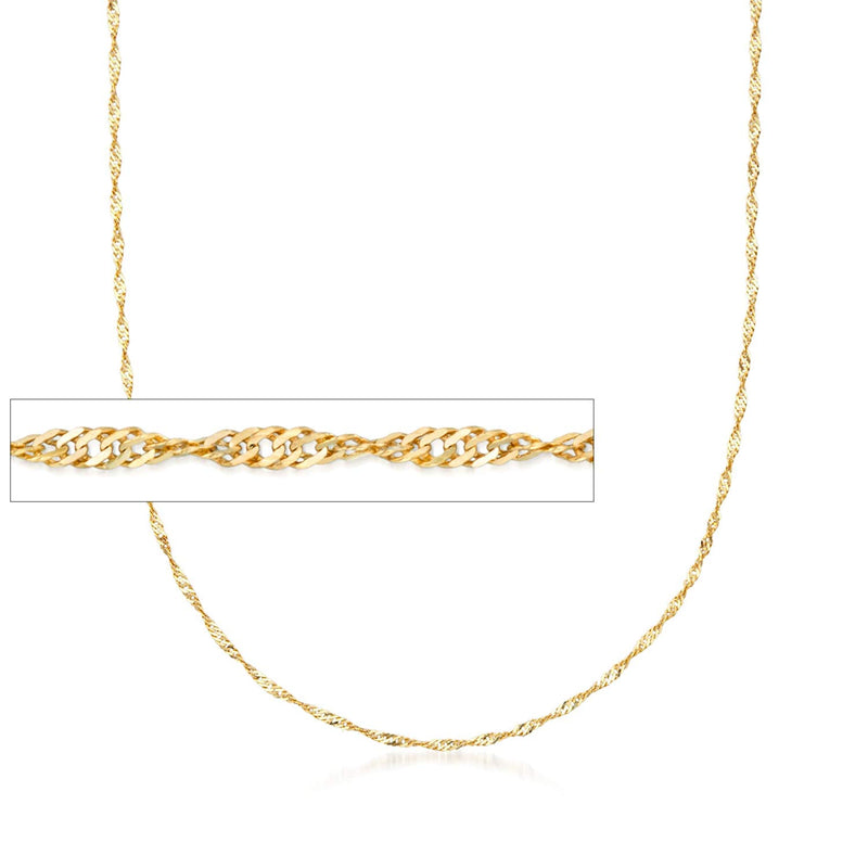 CERTIFIED Ross-Simons Italian 1.5mm 18kt Yellow Gold Diamond-Cut Singapore Chain Necklace