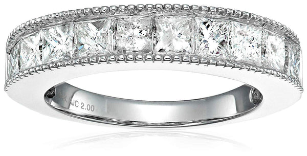 CERTIFIED 2 CT Princess Diamond Milgrain Wedding Band in 14K White Gold