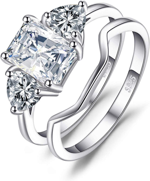 2.75 cttw Wedding Bands Solitaire Engagement Anniversary Promise Ring Bridal Sets 3 Stones Cubic Zirconia 925 Sterling Silver Ring Sets