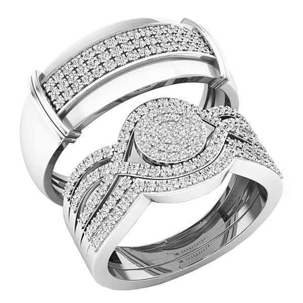 CERTIFIED   0.65 Carat (ctw) Round White Diamond Men's and Women's Engagement Ring Trio Set, 14K White Gold