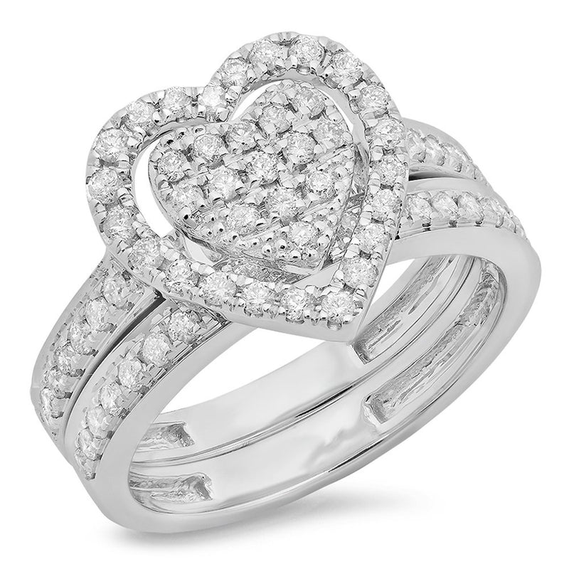CERTIFIED   0.40 Carat (ctw) Round Cut Diamond Ladies Heart Shaped Bridal Engagement Ring Set, Sterling Silver